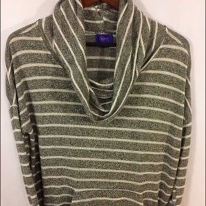 City Streets Cowl Neck Sweater Stripes Pockets